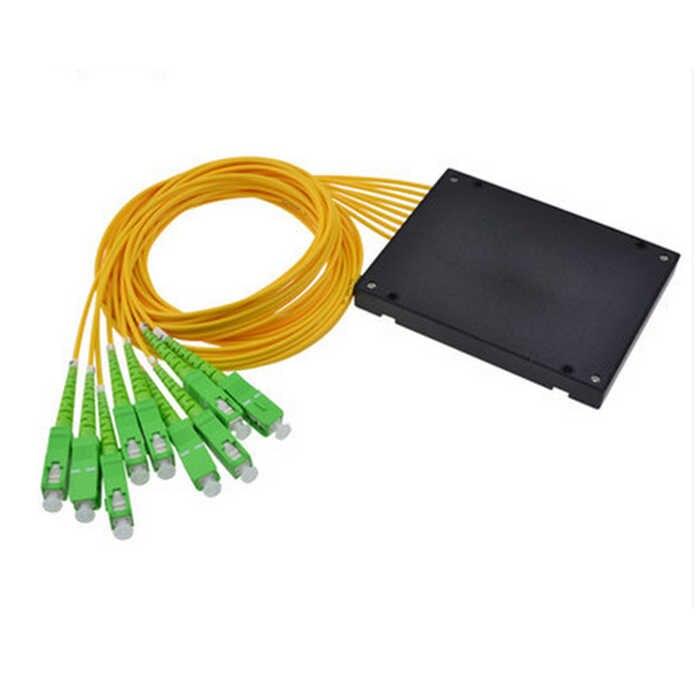 شحن مجاني 1x8 ABS صندوق وحدة نوع SC/APC موصل الألياف مقسم PLC للألياف الضوئية