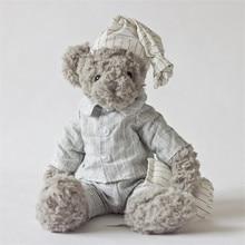 Plush toy grey bear wear gery shirt handsome bear stuffed toys new design high quality size sit 21cm total 34cm