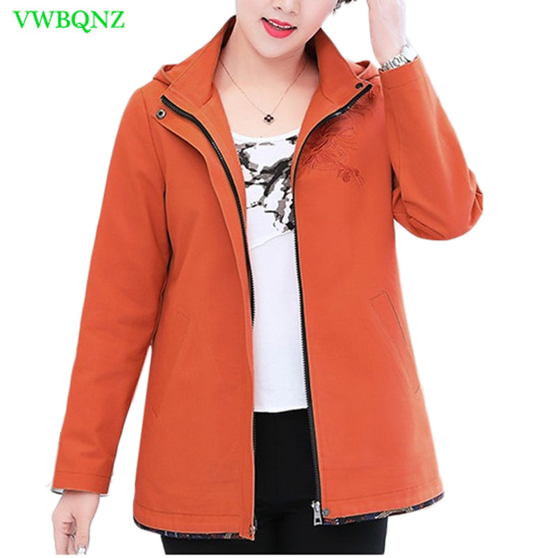 Spring Autumn Casual Windbreaker Coat Women High quality Loose Printing   Trench   Women's Plus size Hooded Cotton Outerwear 4XL 292