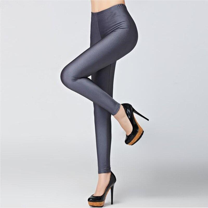 Hot Sale 2018 Candy Colors Fashion Fluorescent Leggings 20 Solid Color Women Shiny Leggins Plus Size Female Casual Pants Legging