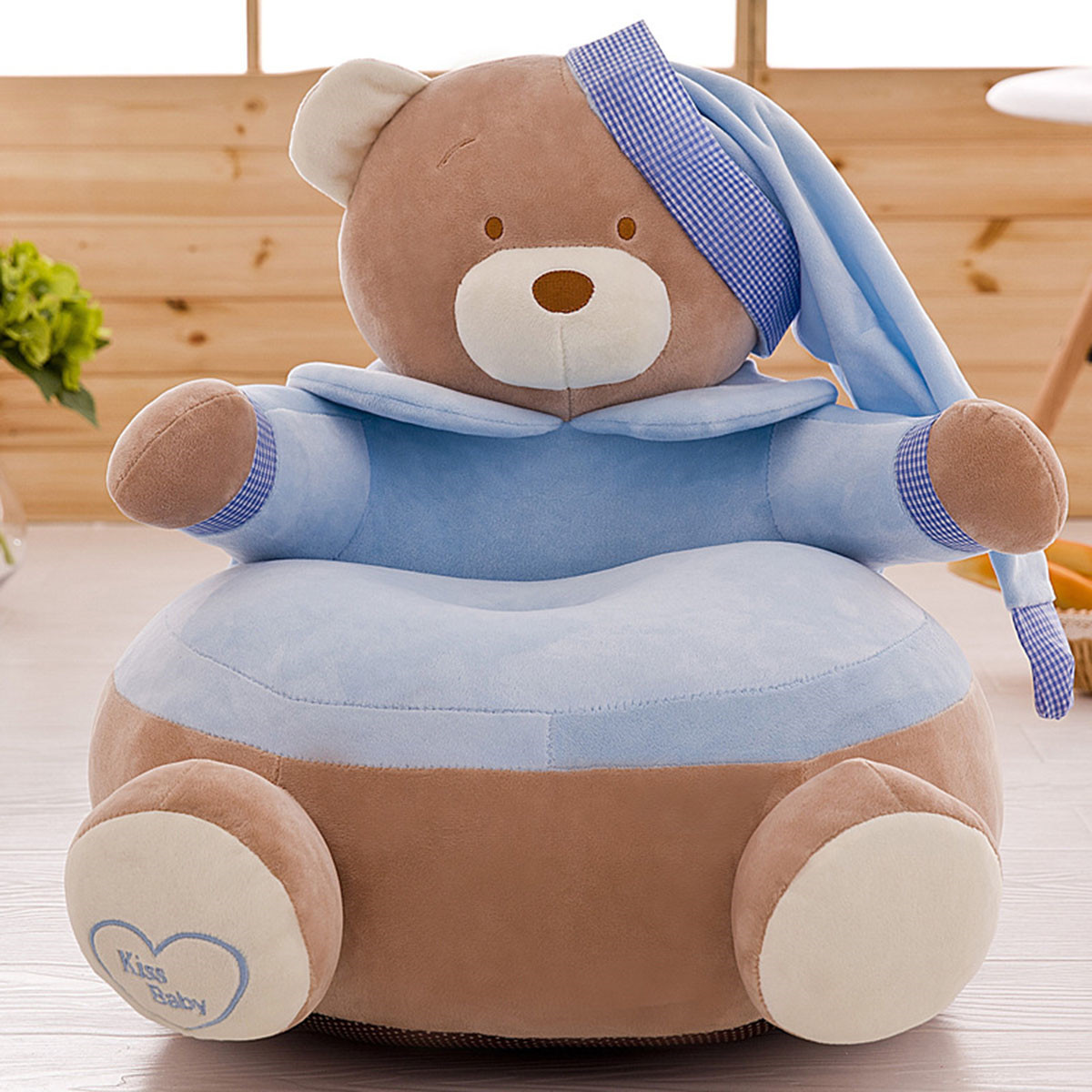 38 Extra Large Stuffed Animal Bean Bag Chair Canvas Soft Toy Storage Bags for Kids Childrens-Blue//White Stripe-38 TOPTIE