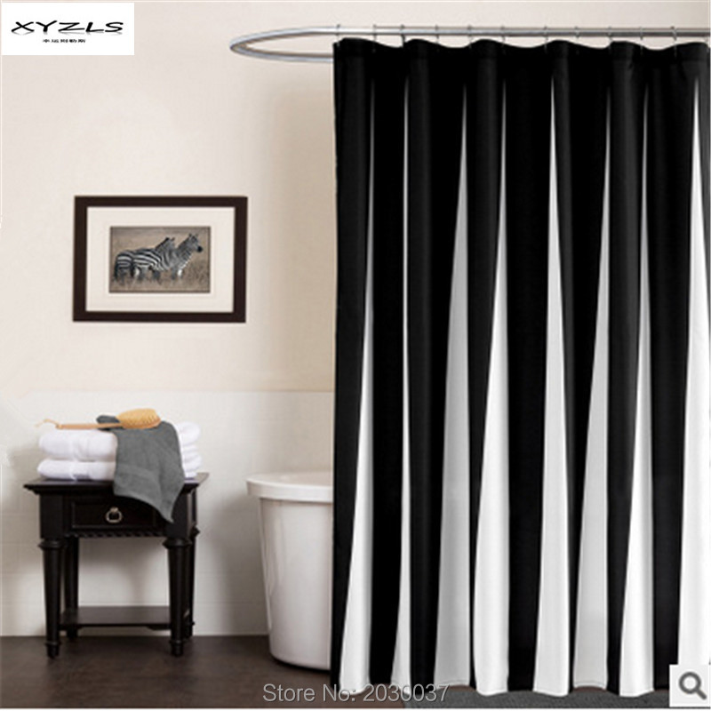 XYZLS Modern Style Black&White Striped Shower Curtain High-quality Polyester Barthroom C ...