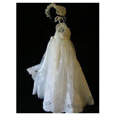 Baby Girl's Christening Dress 2017 Europe Toddler Long Formal Dress Lace Diamond Bowknot White Newborn Birthday Baptism Dresses