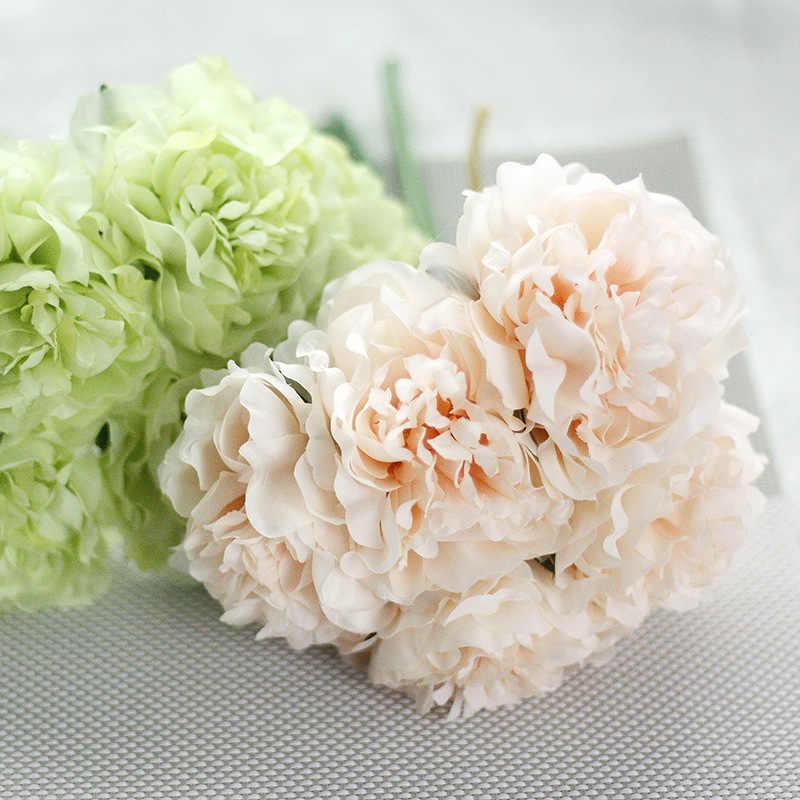 5 Kepala Bunga Bouquet Romantis Berwarna Merah Muda Kualitas Tinggi Palsu Sutra Bunga Pesta Pernikahan Buatan Peony Hydrangea Bunga Dekorasi Rumah
