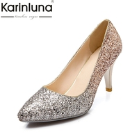 KARINLUNA Large Size 34 43 Gradient Color Bling Thin High Heels Woman Shoes Sexy Gold Sliver