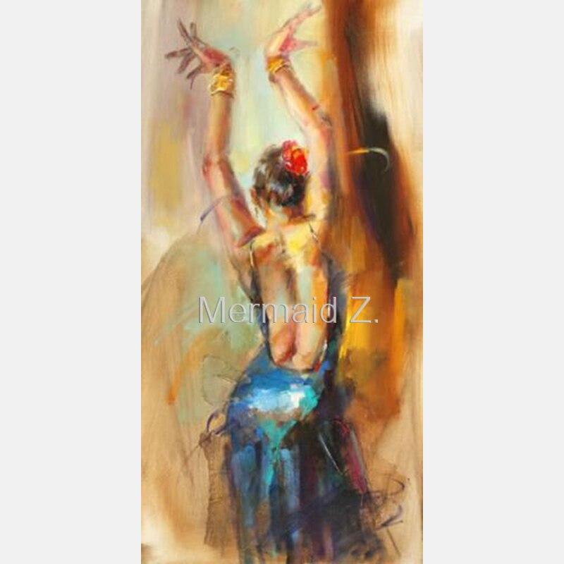 Hand Made Manufactory DIY Digital Dancing Peacock Dance Ballet Tango Women Oil Painting