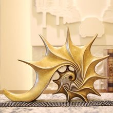 Europe creative resin Golden conch statue home decor crafts room decoration objects office vintage ornament study resin figurine цена