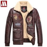 Зимняя мужская одежда мужской плюс бархат Тонкий Зима куртка пилот Мужская кожаная полет Куртки мужской пальто утепленная верхняя одежда