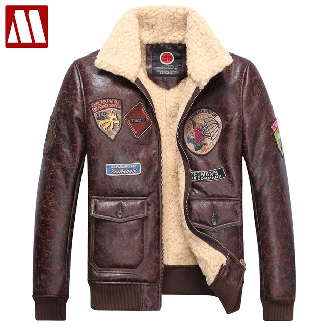 Зимняя мужская одежда мужской плюс бархатная Тонкая зимняя куртка-бомбер  мужская кожаная куртка-пилот 203289d3eafbe