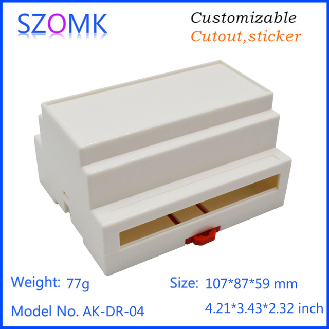 Boîte de jonction de boîtier de rail din en plastique beige de bâti de mur (1 pc) boîte industrielle de boîtier d'équipement électronique de 107*87*59mm