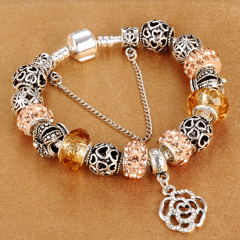 HOMOD Dropshipping Snake Chain Charm Armbånd Med Flower Rose Dingle - Mode smykker - Foto 2