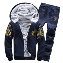 2017 Winter new Fashion Brand men printing add wool slim suits sets men hooded Sweatshirts hoodies
