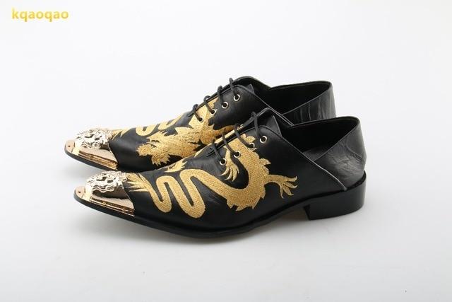 aa930c13e Kqaoqao dragón patrón cuero de vaca hombres Zapatos moda para hombre  vestido Zapatos mocasines hombre Encaje