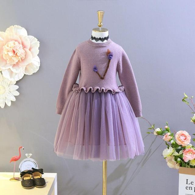 b8f0d847e New Baby Kids Autumn Boutique Floral Long Sleeve Knitting Mesh ...