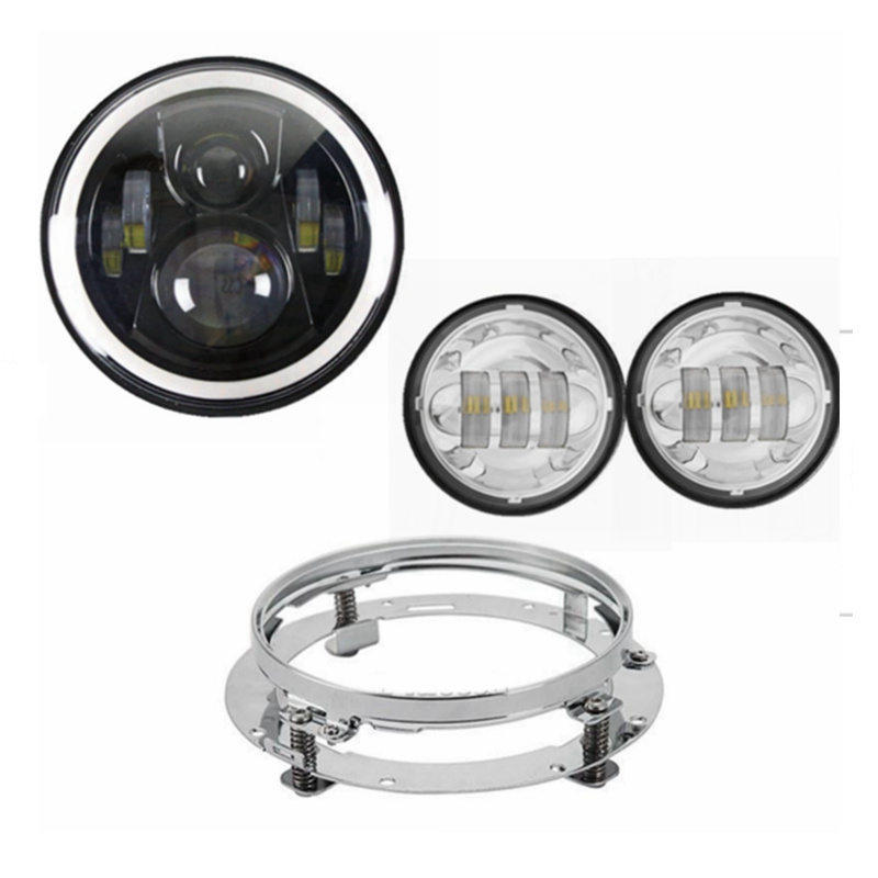 For Harley Davidson Electra Glide Softail Street Glide Road King 7 Motorcycle 40w Headlight LED w/Chrome Mounting Bracket 7 inch led headlight motorbike suit 7headlight monting ring fog lights for harley davidson electra glide road king street glide