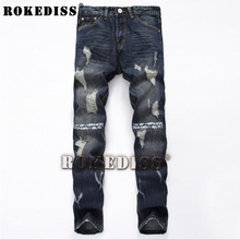 Popular Men's robin jeans for men Spring Autumn The tide of youth Personality Ripped B95 Straight pants casual brand-clothing