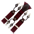 Dark Red Burgundy tape Casual male fashion suspenders clip western-style trousers elastic spaghetti strap clip check 6 clasp