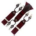 Rojo oscuro Borgoña cinta Informal masculinos tirantes de clip de estilo occidental pantalones correa de espagueti elástico de moda cheque clip de 6 broche