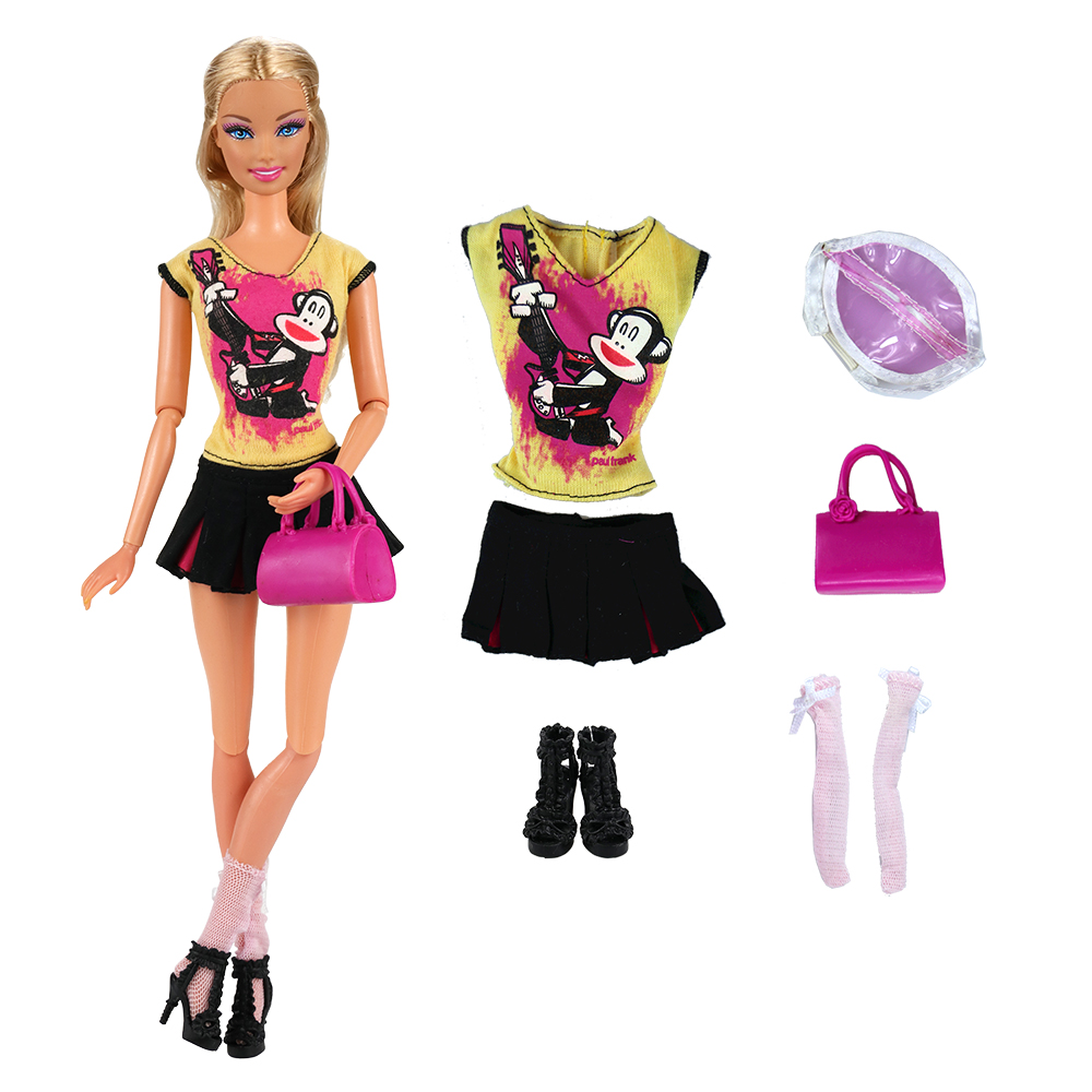 Best Selling 2019 Products Handmade Doll Accessories Party Monkey Clothes Top Skirt For Barbie Dolls Game DIY Present Girls Toys