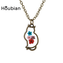 Houbian 2017 New Cat Epoxy Alloy Necklace Natural Dry Flower Necklace 6 Colors