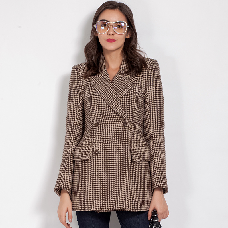 2018 Spring Women High Quality Double Breasted Slim Fit Blazer Famale Long Vintage Plaid Notched Blends Houndstooth Blazers