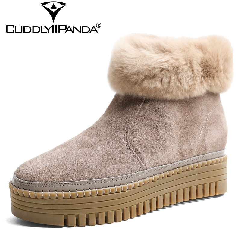 CuddlyIIPanda 2018 Winter Platform Women Snow Boots Non-slide Winter Shoes Thick Rabbit Fur Ankle Boots Cow Suede Botas Mujer