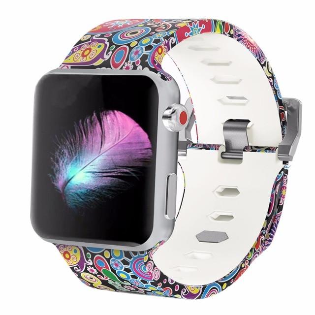 Bemorcabo печати красочный замена спортивный ремешок для Apple Watch Series 3/2/1, мягкие силиконовые браслеты полосы ремешок для iwatch 38 мм