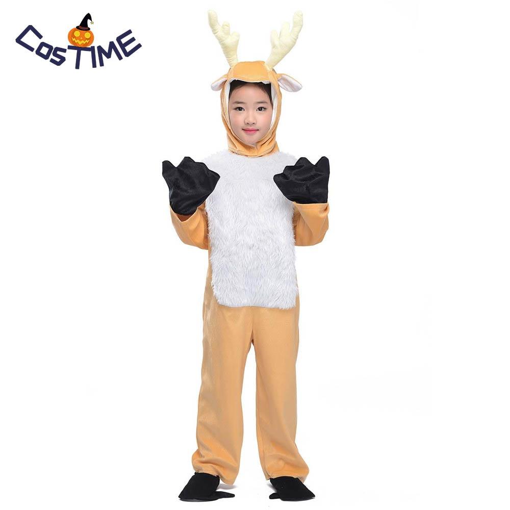 Kids Deer Costume Little Elk Animal Onesies Fancy Dress Jumpsuit with Headwear Gloves Toddlers Children Carnival Costumes