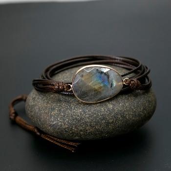 Rope wrap bracelet natural stones