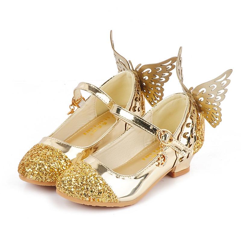 2018 nueva princesa niñas Zapatos Sandalias para niños purpurina mariposa bajo talón niños zapatos niñas pequeñas fiesta Enfant zapatos EU26-37