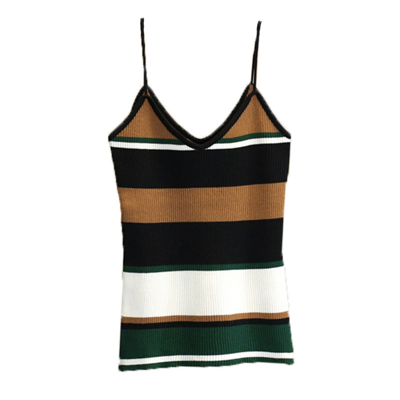 EFINNY 2019 Camis Women Hot Sexy Cropped Stripe Cami   Top   Casual Ribbed Camisole Summer   Tops   Knitted Crop   Top