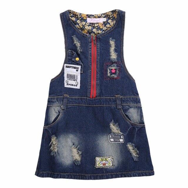 5e41f4f0d Pettigirl 2019 Sleeveless Denim Baby Girl Princess Dress Patchwork Sundress  For Girls Summer Autumn Jeans For