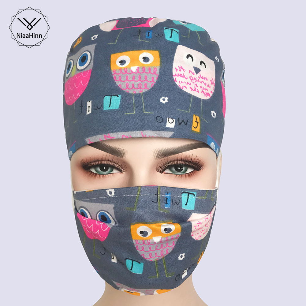 New Nurse Doctor SPA Operating Surgical Hats Women Print Scrubs Caps Cotton Fabric Adjustable Size Clinic Nursing Working Hats