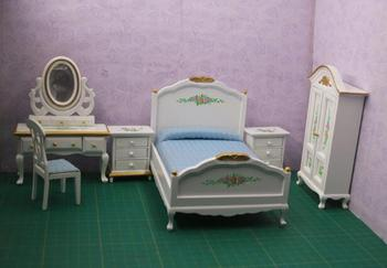 A01-X220 children baby gift Toy 1:12 Dollhouse mini Furniture Miniature rement-white rose bedroom 6pcs/set