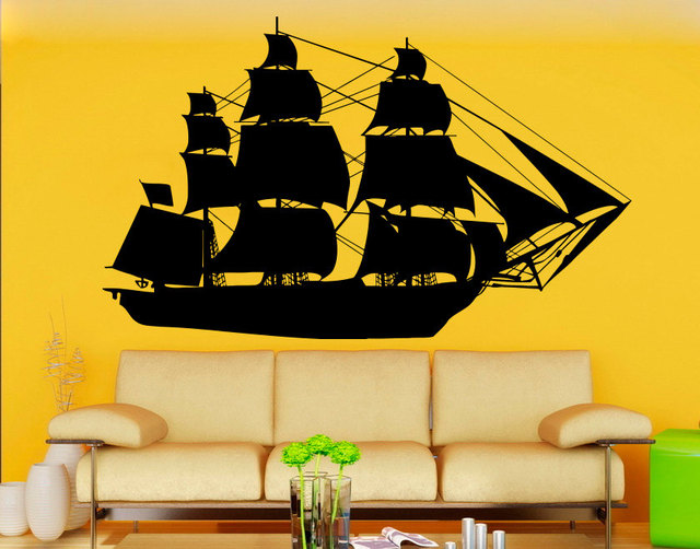 Large Ship Silhouette Wall Decals Home Bedroom Ocean Cool Style ...