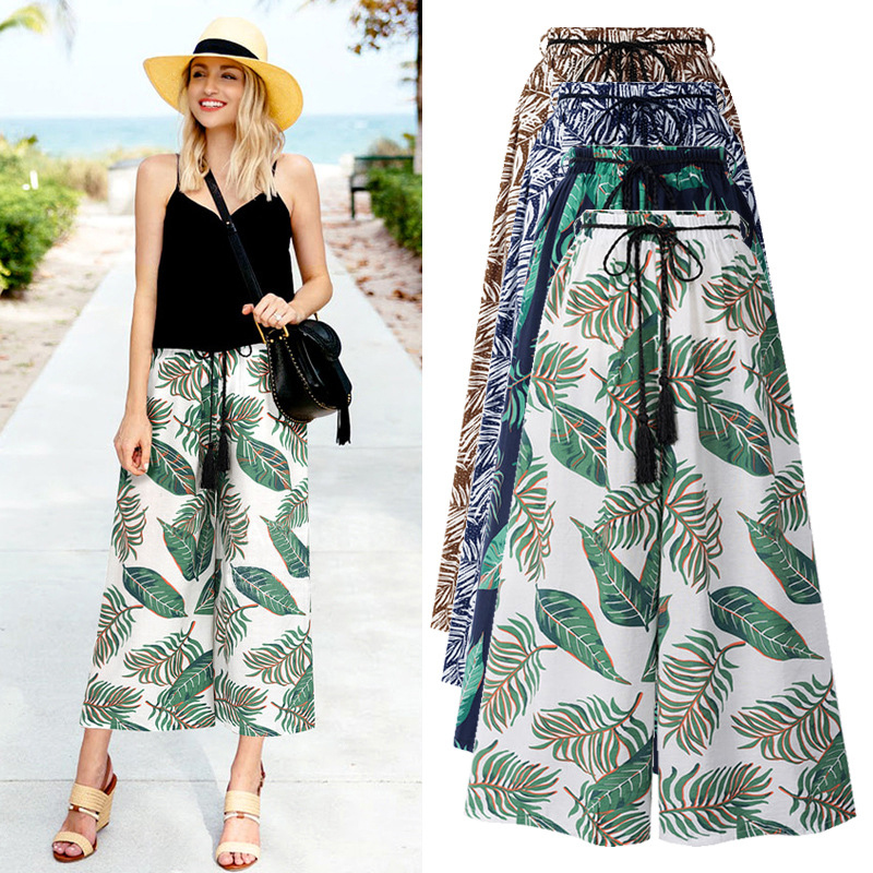 New Women Floral Print Green Leaves Trousers High Waist Sashes Fashion Female Summer   Wide     Leg     Pants   Cozy   Pants   Plus Size 5XL 6XL