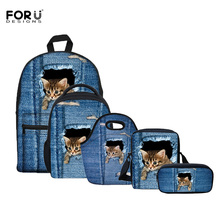 FORUDESIGS 5 PCS/Set Denim Cat Series School Bags For Teenager Girls,3D Animal Kindergarten Baby Schoolbag Kids Satchels Mochila