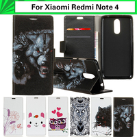 Wallet Capa For Xiaomi Redmi Note 4 Case Cartoon Animal Paint PU Flip Leather Bag Cover