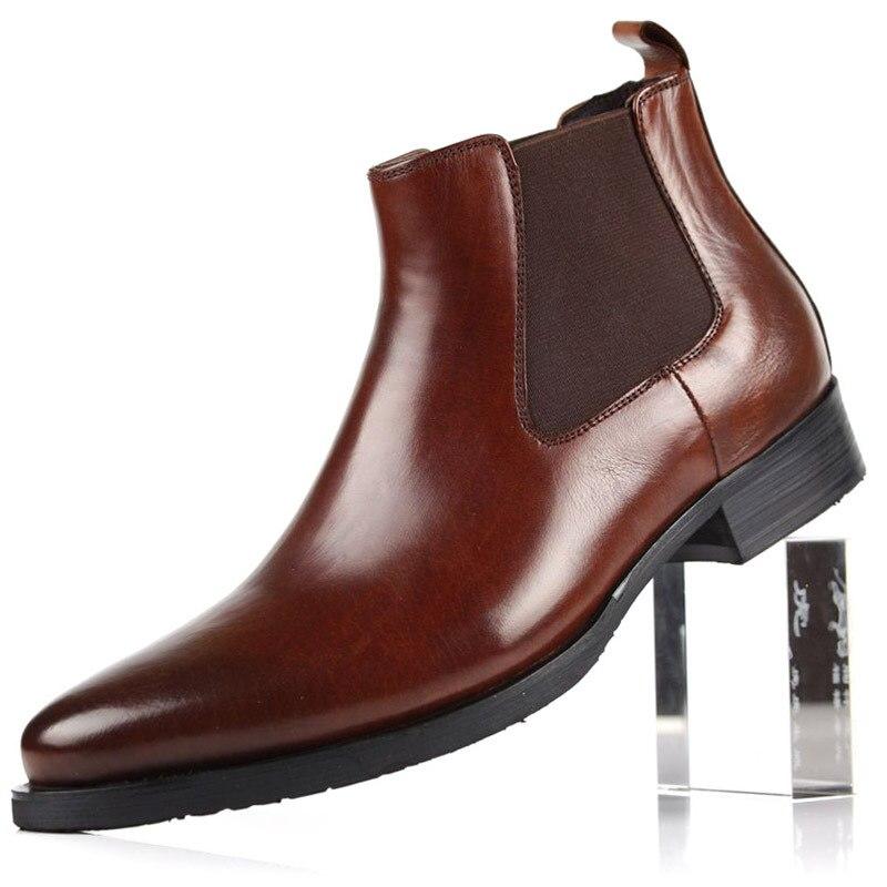 New men's boots Genuine Leather slip on