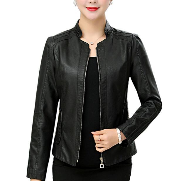 XL-6XL Casual Fashion   leather   coat 2018 New style women big size short black   leather   jacket coat motorcycle   leather   jaclets
