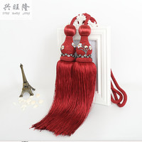 XWL Chinese 1Pair Curtain Hanging Belt Ball Window Curtain Accessories Strap Fringes Tassel Tiebacks Buckle Lashing Bind Decor