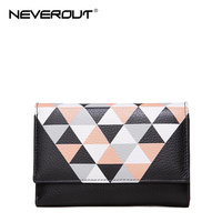 NeverOut New Design Women Wallets Genuine Leather Money Clip Fashion Color Stitching Quality Female Money Bags