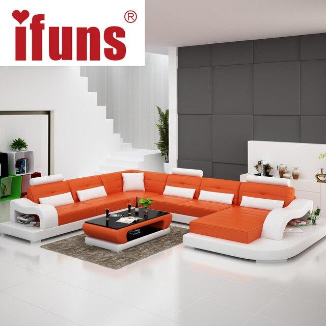 IFUNS White Genuine Leather Luxury Sofa Sets U Shaped Cow Leather Sectional  Sofa Set Living Room Furniture Big House (fr)