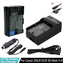 1x LP-E6 battery LPE6 LP E6 Digital Bateria + Car Plug Charger for Canon DSLR EOS 5D Mark II Mark III 60D 60Da 7D 70D 6D Camera цена и фото