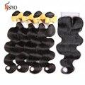 Grade 7A Malaysian Body Wave Virgin Hair with Closure Malaysian Lace Closure with 4 Bundles Human Hair Weave Bundle with Closure