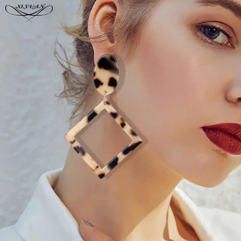 2018 Fashion Leopard Acetate Square Earrings For Women Personality Exaggerated Edition Geometric Party Girl Acrylic Earrings