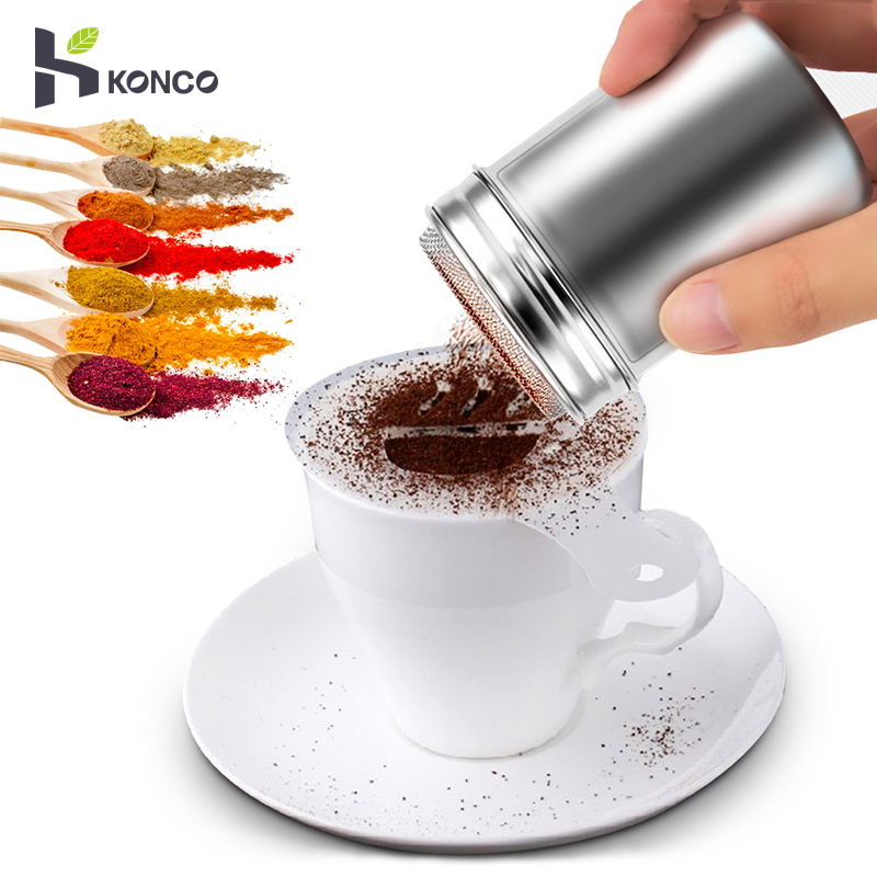 KONCO Stainless Steel Powder Shakers, Mesh Shaker Powder Cans for Coffee Cocoa Cinnamon Powder with Lid, Sugar Flour Sifter