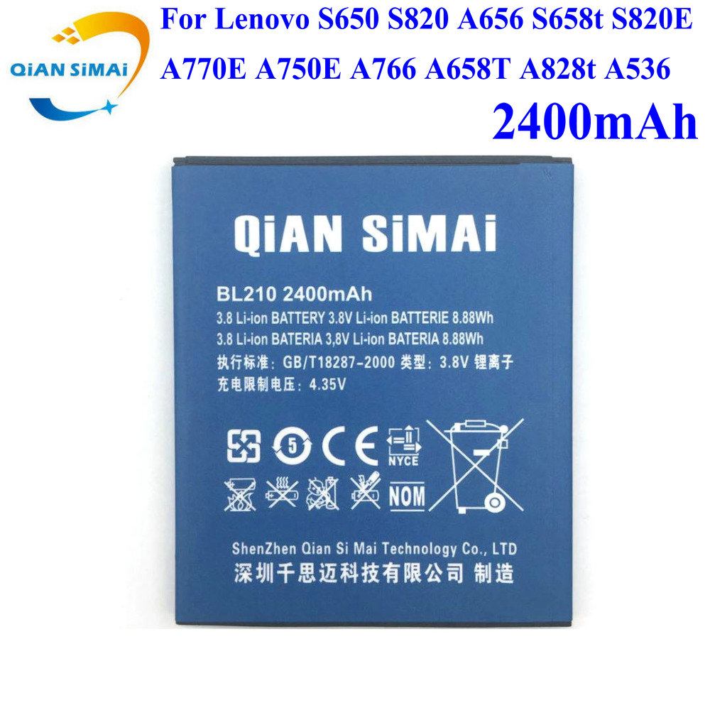 QiAN SiMAi 1PCS 2017 New BL210 <font><b>battery</b></font> for <font><b>Lenovo</b></font> S650 S820 A656 S658t S820E A770E A750E A766 A658T A828t <font><b>A536</b></font> BL210