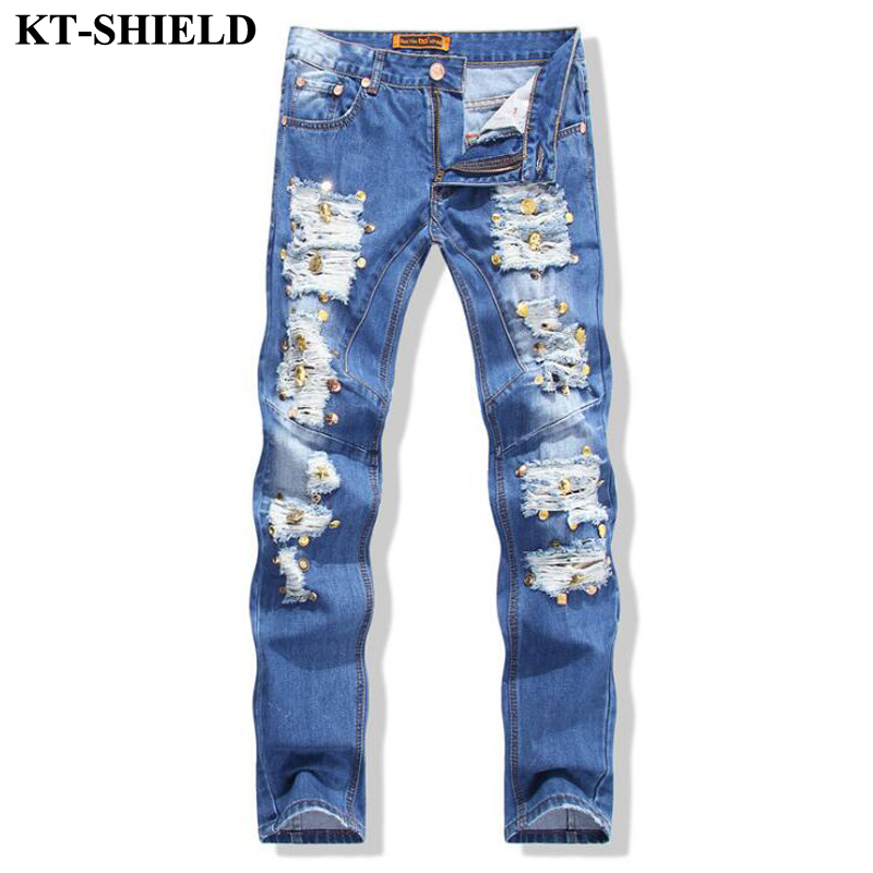 ФОТО ripped biker men jeans European style Brand Fashion Denim Pants Distressed Men Trousers Cotton Slim fit Jeans Pants High quality