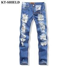 Разорвал байкер мужские джинсы Европейский стиль Модного бренда Джинсовые Брюки Проблемные Мужчины Брюки Хлопок Slim fit Джинсы Брюки Высокое качество